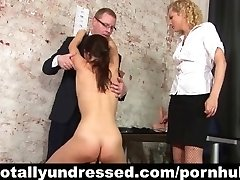 Ultra-kinky double dildo test for secretary posture