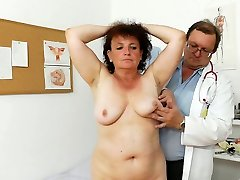 Fal old granny Marsa is explored in medical office by perverted medic