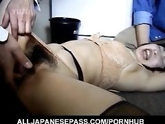 Japanese AV Model has hairy crack roughly pounded by two men