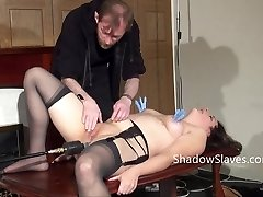 First-timer slave Jannas kinky fetish and freaky machine fucked