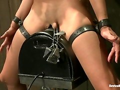 Tight bodied dark haired rides the sybian