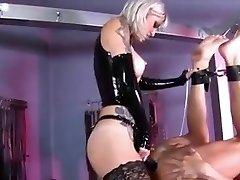 Inked Mistress pegging her gimp boy