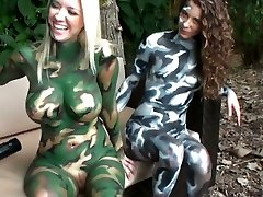 4 insane lesbians with painted bodies play paintball