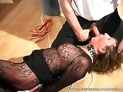 Mature bitch receives tied and fucked with dildo