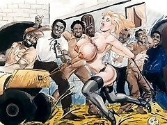 Slaver i bondage bdsm cartoon art