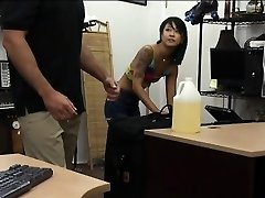 Asian beauty smashed by freak pawn man in the back office