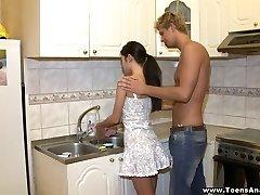 Butt-banged in a kitchen