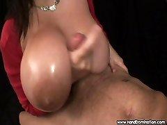 enormous natural breasts engulf handjob cock