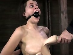 Nip deep-throated bitch getting caned