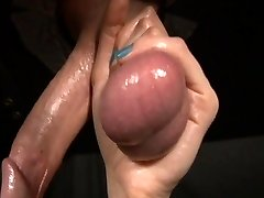 emo nymph loves his huge testicles during gloryhole blowjob