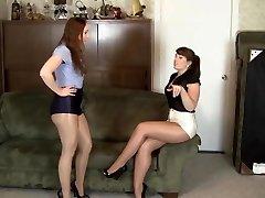 lesbi läikiv sukkpüksid pärisorjus