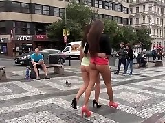 2 sexy insatiable girls bottomless flashing public nude in town
