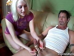 student is brutal to yam-sized dick femdom handjob cfnm
