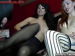 2 femdom Mistresses foot humiliation face sitting and humiliation of male