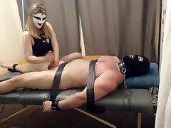 kneeing balls handjob and cock and ball torture, tickling