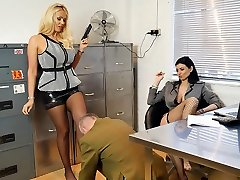 Wonderful bosses turn office perv into nylon podophilia slave