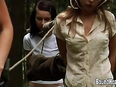 2 Innocent Girls Caught By Lesbian Huntress And Bound Up