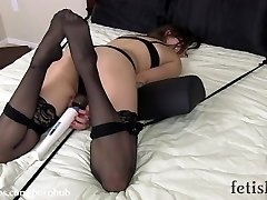 Missy Minks Frogtied on bed and vibed to orgasm