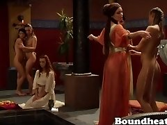 Lesbo Slave owners takes a bath with her Roman slaves