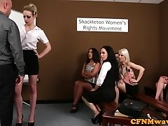 CFNM femdoms humiliating beef whistle in group