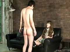 CFNM Japanese female dom Ruri like to watch a young naked man ma