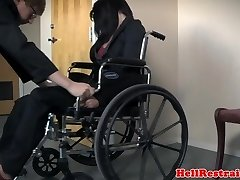 Pierced bdsm slave caned by maledom while tied