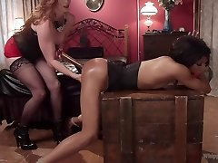 Dungeon Games: Bored femme dommes spank, flog and drill to kill time!