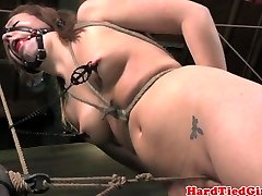 Crotch corded nipple clamped sub punished