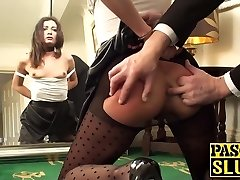 Brunette floozy needs to be taught her place before anal