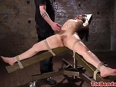 Gimp tied to chair for whipping by maledom