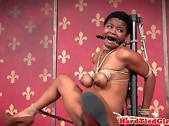Ebony victim ball tied and gagged by maledom