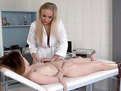 Sadomasochistic lady doctor Kayla Green trusses Misha Cross