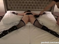 Tied up sex slave in ballet boots penalized with stiff spanking and buttfuck