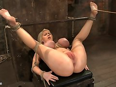 California Blond With Huge Bosoms Has Them Corded To Her Knees  Spreadmade To Squirt  Shriek - HogTied
