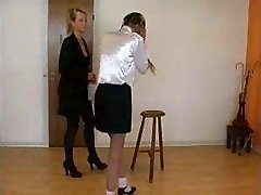 very severe caning by classy lady to disobedient school girl