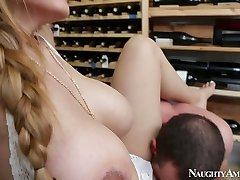 Brutal stud Jordan Ash tears up mega chesty cutie Yurizan Beltran in wine cellar
