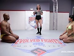 Mia Tiny competitive nude wrestling vs BBC of Will Tile
