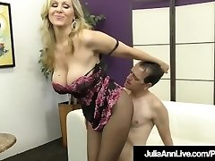 Femdom Milf Julia Ann Teases A Slave Cock With Stocking!