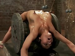 Sexy Dark-haired Experiences Nipple Torture, Brutal Crotch Cable And Extreme Bondage. - HogTied