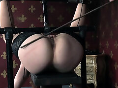 Bound domination & submission babe head caged after flogging