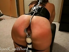Cum Whore is flogged, fisted, gaped and ass penetrated