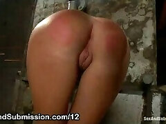 Perfect ass babe flagellated and fucked in dungeon