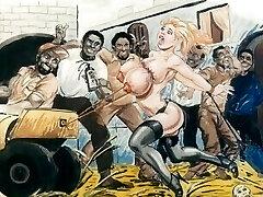 Slaves in bondage bdsm animation art