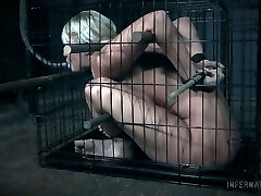 Mega-slut with plump ass London River gets her puss punished in the dark room