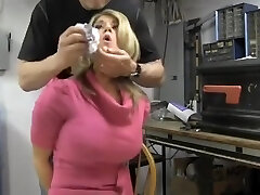 Busty blonde chair strapped and cleave gagged
