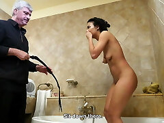 Screaming bitch pussy whipped in the douche