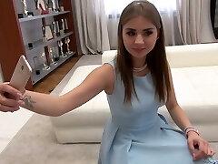 Sweet Russian ultra-cutie Julia F is eager to take double schlong penetration