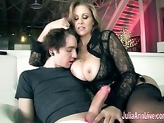 Breasty Milf Julia Ann Makes Boy Toy Cum on His Face!