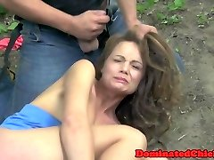 Tiedup submissive stunner boned outdoors