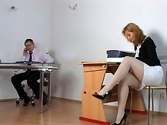Naughty student getting penalized by lecturer